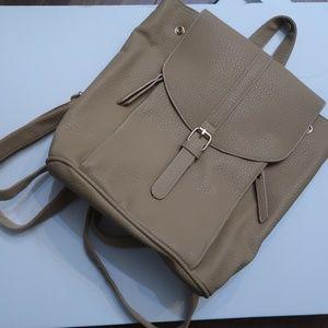 Handbags - Beige Pebbled Faux Leather Handbag Backpack